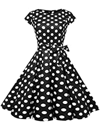 Damark(TM)))) Vestito Donna Elegante Donne Abito retrò Senza Maniche Stile  Vintage Donne Anni 50 Swing retrò Casalinga Partito Sera… 83311b4a1d2