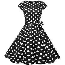 323bf0de56d1a LILICAT Femmes Vintage Audrey Hepburn Robe de Soirée Cocktail Année 50  Rockabilly Impression Cravate Taille Grande