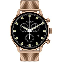 Blenheim London® Chronomaster Black Dial Pilot Watch With Rose Gold Case With Rose Gold Stainless Steel Strap