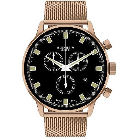 Blenheim Londres® Chronomaster negro Dial reloj de piloto con oro rosa caso con oro rosa correa de acero