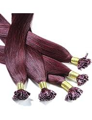 hair2heart 100 x Bonding Extensions aus Echthaar, 70cm, 1g Strähnen, glatt - Farbe 99j burgundy