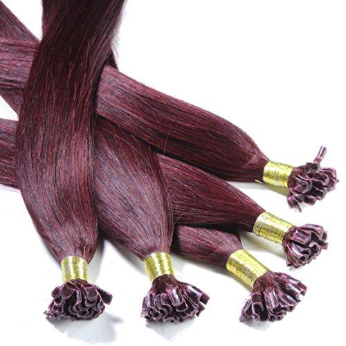 Just Beautiful Hair and Cosmetics Lot de 100 extensions de cheveux naturels Remy Hair avec points en kératine pour pose à chaud 50 cm