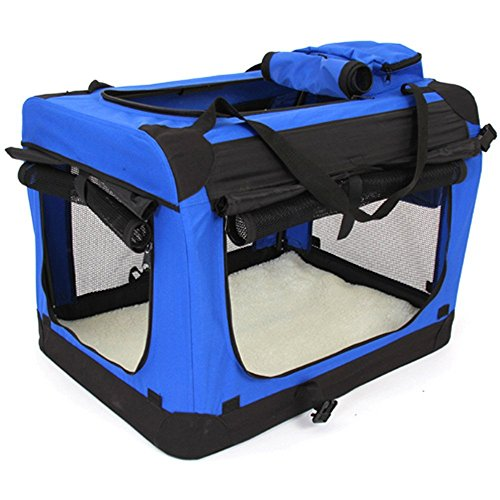 amzdeal® Portable Collapsible Kennel/Soft Fabric Pet Crate/Pet Playpen for Cats and Dogs/Pet Supplies/Indoor Outdoor Pet Home/Ideal for Spring Outgoing (Blue)