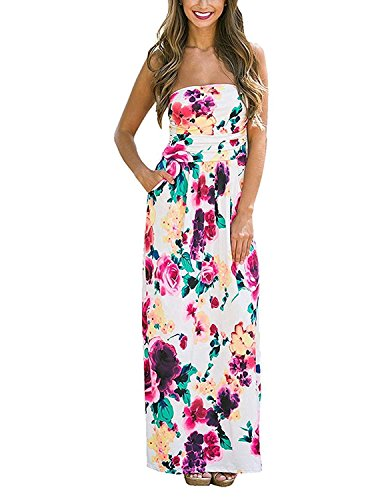 Modetrend Femmes Bohème Longue Maxi Robe de Plage Robes Bustier été Floral Imprimé Sans Bretelle Robe - Fleur Multicouleur - Asian X-Larg