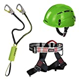 Unbekannt Alpidex Kletterhelm ARGALI + Alpidex Klettergurt TRAD TAIPAN red pepper + Edelrid Klettersteigset Cable Kit Lite 5.0, Farbe:apple green