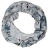 MANUMAR Loop-Schal für Damen | feines Hals-Tuch in grau mit Blumen Motiv als perfektes Herbst Winter Accessoire | Schlauch-Schal | Damen-Schal | Rund-Schal | Das ideale Geschenk für Frauen und Mädchen