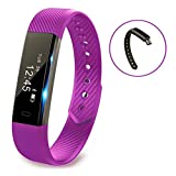 Fitness Armband,Fitness Tracker,Pushmen YG3 Bluetooth Anruf Remind Remote Self-Timer Smart Band Kalorienzähler Wireless Pedometer Sport Schlaf Monitor Aktivität Tracker Für Android iOS Telefon, Einzelpackung.(Blau)