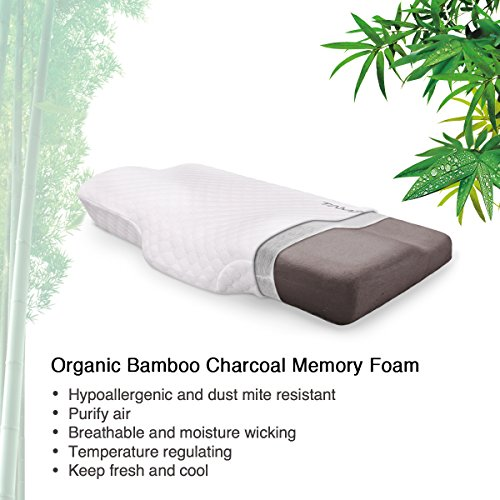 Memory Foam Pillows by TAMPOR Bamboo Charcoal Orthopaedic Neck and Head Support Pillow with Zipped Washable Pillow Cover, Hypoallergenic,Anti-Mites L60*W35*H11/6CM - 2