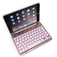 iPad Mini 2 Keyboard Case,Miya Ultra Thin Bluetooth Wireless Colorful Keyboard Case 7 Colors Backlit Keyboard Flip Stand Executive Protective Cover Auto Sleep/Wake for iPad Mini 1/2/3 - Rose Gold
