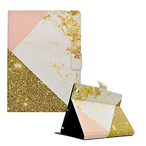 For iPad 2 3 4 Case 9.7inch, Funyye Practical Fashionable New 3D Pattern PU Leather Magnetic Flip Folio Book Style 2017 Version with Built in Stand and Front/Back Protection Slim Fit iPad Smart Cover Case iPad 2 3 4 - Gold White
