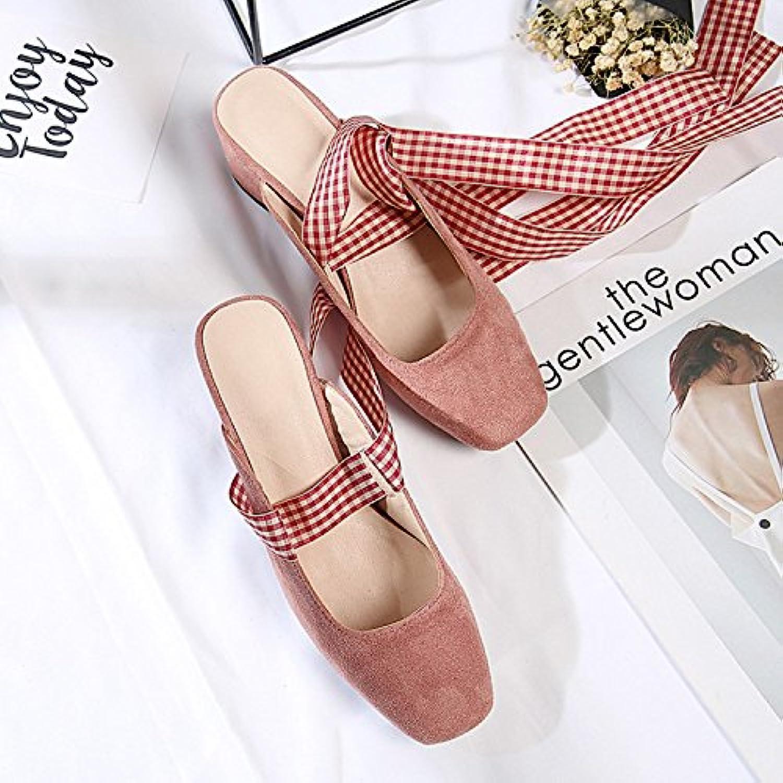 Qingchunhuangtang@ Sra. Baotou en primavera y verano sandalias zapatillas zapatillas con sandalias,Thirty-Five... -