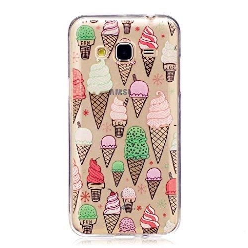 Coque Samsung J3 J310, MUTOUREN Housse Etui TPU Silicone Transparente Case pour Samsung J3 J310 Soft de Protection Cas Bumper Cover Anti Rayure-couleur crème glacée