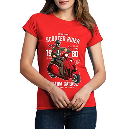 C435WCNTR Damen T-Shirt Scooter Rider Motorcycles Garage Full Speed Cafe Racer Caferacer Oil Custom Race Vintage Classic(Medium,Red) (Red Rider Scooter)