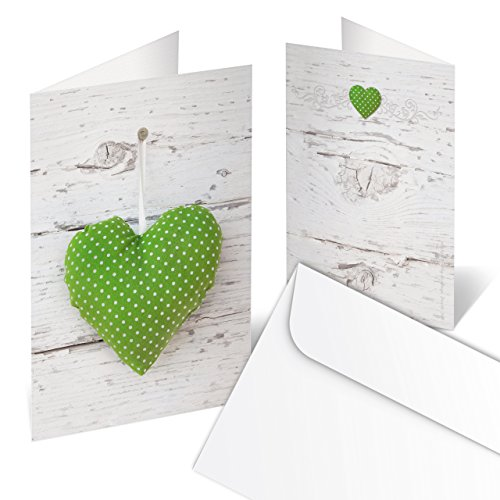50 Stück Grußkarte grün weiß gepunktet HERZ MIT KUVERT Glückwunschkarte Dankes-Karte Einladungskarte Einladung Hochzeit Fest Geburtstags-Einladung Muttertag Valentinstag Hochzeitskarte bayerisch Bayern (Danke-karte 50)
