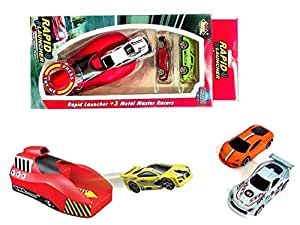 Siddhi VinayakTM Rapid Launcher Play Set Toy with 3 Die Cast Metal Stunt Car and Stoppers for Kids