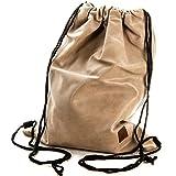 Gymbag Hipster Beutel Rucksack Sportbeutel Turnbeutel Bag Stringbag edel exclusiv (Creme)