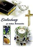 Einladungskarten Kommunion Junge Mädchen mit Innentext Motiv Bibel 25 Klappkarten