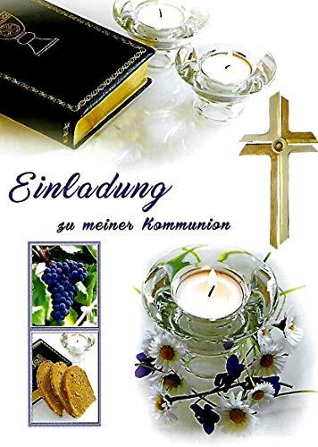 Einladungskarten Kommunion Junge Mädchen mit Innentext Motiv Bibel 10 Klappkarten DIN A6 im Hochformat mit weißen Umschlägen im Set Einladung Kommunion Mädchen Kommunionskarten mit Kuvert K213