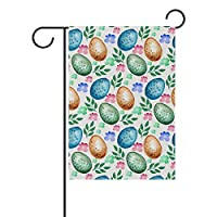 ALINLO Easter Watercolor Eggs Floral Pattern Garden Flag 28 x 48 inches, Custom Double-sided Yard Flag, Polyester House Banner for Indoor Outdoor Home Decor