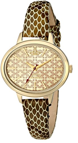 Vivienne Westwood Women's Quartz Watch with Gold Dial Analogue Display and Gold Leather Strap VV102GDGD
