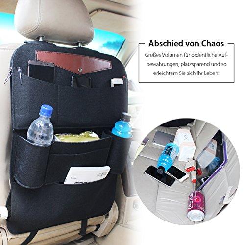Sitzbezug Schwarz Auto Baby (Luxusauto Organizer Salcar Auto Rücksitz für Kinder wasserdichter Regenschirm Rückenlehnen Tasche Kick Matten Schutz für iPad, Kindle, Getränke, Taschentuch usw.)