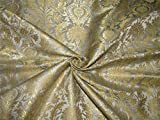 Brokat-Stoff, schwer, 91,4 cm, Grau/Metallic Gold