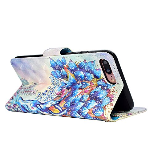 iPhone 7 Plus Custodia,iPhone 8 Plus Custodia in Pelle,Slynmax 3D Modello Copertura Folio Flip Cover PU Wallet Case Per iPhone 7 Plus / iPhone 8 Plus Protezione Caso Ultra Sottile Colorato Protettivi  Modello #7