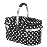 TOMSHOO 30L Foldable Picnic Basket Insulated Storage Shopping Basket Folding Aluminum Handle 46 * 25 * 24cm Outdoor
