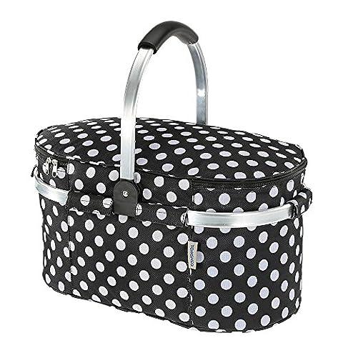 TOMSHOO 30L Foldable Picnic Basket Insulated Storage Shopping Basket Folding