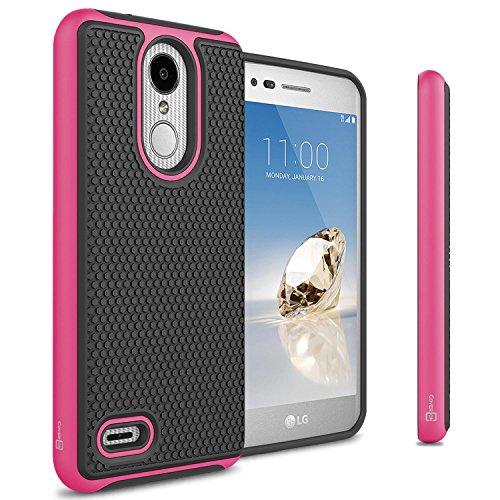 LG Zone 4Fall, LG Tribute Dynasty Fall, LG Aristo 2Fall, coveron hexaguard Schutz Dual Layer Hybrid Handy-Cover für LG Zone 4/Tribute Dynasty/Aristo 2, Hot Pink