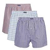 Vanever Boxer Homme, 100% Coton, Lot de 3, Calecons Hommes, Caleçon Américain, Rétro Undertwear Bouton Fly Rouge & Bleu Clair & Violet M