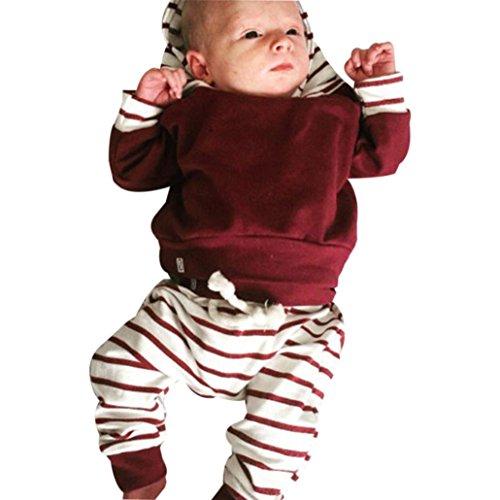 2pcs Säugling Junge Kleider Set Gestreift Kapuzenpullover Tops + Hosen Outfits (100, Rot) (Kleid Set Gestreiftes)