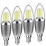Yiun E14 LED Kerzen Lampen, 12W LED Kerzenleuchter Glühbirnen 100 Watt Äquivalent, 1200lm, Daylight Weiß 6000K LED Kronleuchter Lampen, dekorative Kerzenständer E14, nicht dimmbare LED Lampe, 4er Pack