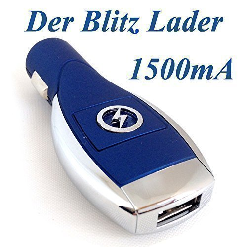 Universal USB 1500mA Lader mit LED Ladegerät Ladeadapter blau Zigarettenanzünder Auto KFZ Handy PKW LKW Adapter für Samsung, Nexus, Sony, Nokia, LG, HTC, Motorola, Wiko, Huawei, Blackberry, TomTom, Handy, Tablet, Smartphone und Navi