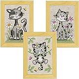 Vervaco Miniaturen Katzen mit Blumen, 3er Set Zählmusterpackung-Stickpackung im gezählten Kreuzstich, Baumwolle, Mehrfarbig, 8 x 12 x 0.3 cm, 3-Einheiten