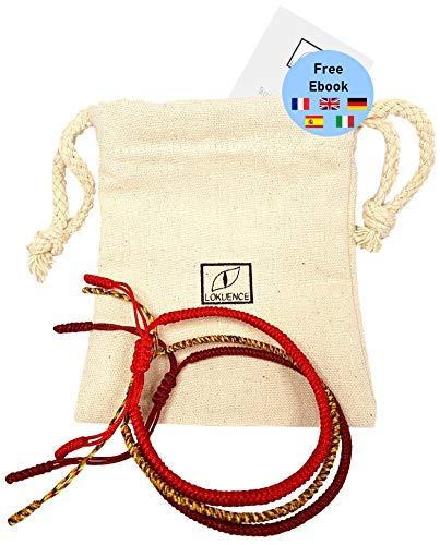 Buddhistisches Armband, tibetisches Glücksband, buddhistisches Mönchsarmband, Lot Of 3 Glück tibetische Armbänder (Rot Mehrfarbig Dunkelrot) + Ebook angeboten