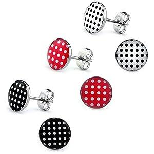 3 Paar Polka Dot Ohrstecker Ø 10mm Edelstahl [ Rot – Schwarz – Weiß ] Rockabilly Ohrringe für Damen