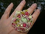 großer Ring pink Achat trifft Neongrün handgemacht in wirework silberfarben als crazy Handschmuck