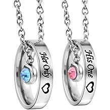 """Halskette Ring Anhänger Edelstahl Partnerketten mit Gravur """"His One""""""""Her only"""" für Sie und Ihn 2 Stück Silber Farbe"""