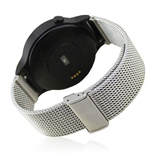 Schwarz Ersatz Kaffeemaschine (18MM Netzarmband Milanaise Edelstahl Bänder Bügel für Huawei Uhr 42mm Smart Watch)