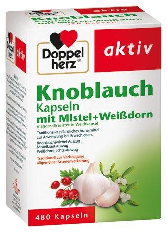 Doppelherz Knoblauch-Kapseln mit Mistel, und Weißdorn, 2er Pack (2 x 480 Kapseln)