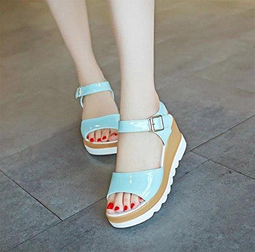 Frau Sandalen Fischkopf Wort Schnalle Sandalen Hang mit schwerer Boden Sandalen Frauen wilden lässig und bequem Blue