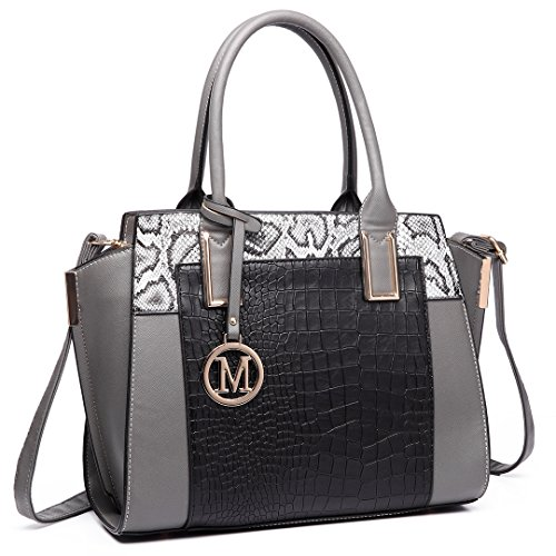 Miss Lulu Damen Klassische Handtasche Winged Schultertasche Groß Umhängetasche Taschen 6623 Grey