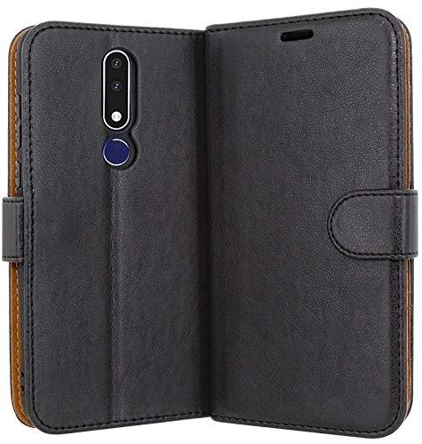 Case Collection Hochwertige Leder hülle für Nokia 3.1 Plus Hülle mit Kreditkarten, Geldfächern und Standfunktion für Nokia 3.1 Plus Hülle