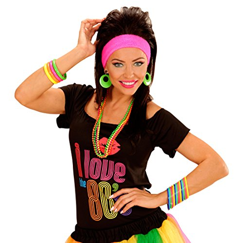Amakando Neon-Armbänder 18er Set Bunte Armreifen greller Armschmuck leuchtende Accessoires Achtziger Schmuckset 80er Party Outfit Mottoparty Zubehör
