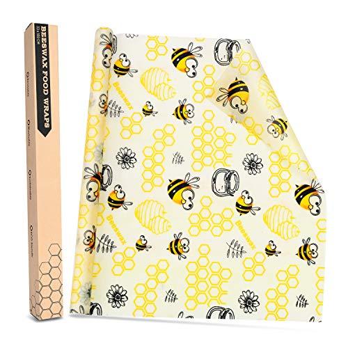 Joyoldelf Beeswax Warp-Cartoon Wachspapier Bienenwachstuch für Lebensmittel Umweltfreundliche, abfallfreie, Waschbare und Wiederverwendbare Aufbewahrung von Lebensmitteln 33 * 100CM
