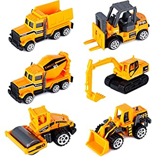 T.H. Mini Construction Engineering Truck Alloy Models Cars Pocket Size Play Vehicles for Children Boys Decoration (Pack of 6)