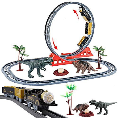 Zug Kostüm Dino - deAO Dinosaurierzug mit viel Zubehör und Dinosaurierfiguren.EIN großartiges Geschenk für Kinder