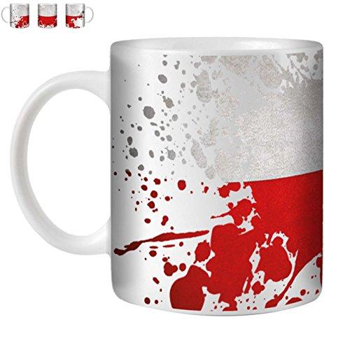 STUFF4 Tasse de Café/Thé 350ml/Pologne/Drapeau Splat Pays/Céramique Blanche/ST10