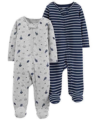 Carter's Baby Boys Footed Sleeper Cotton Sleep and Play Pajama with Zipper, Set of 2 - Footed Sleeper Pajamas
